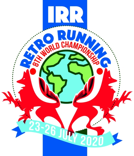 Retro run Logo Red white and Blue